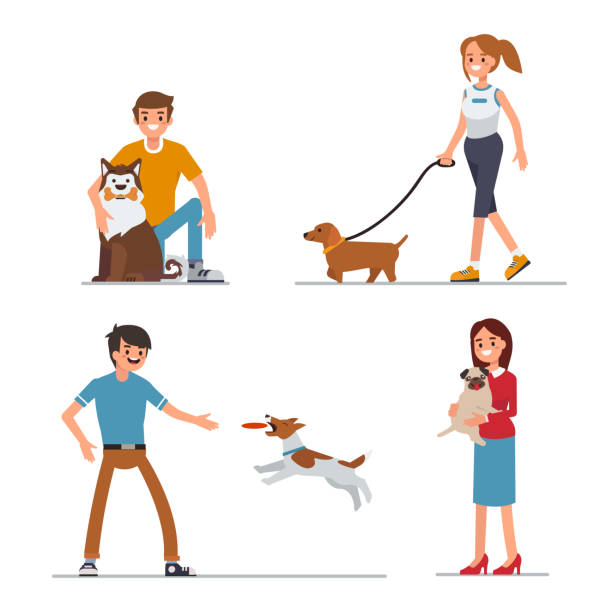 playing with dog People walking and playing with their dogs. Flat style vector illustration isolated on white background. sheltering stock illustrations