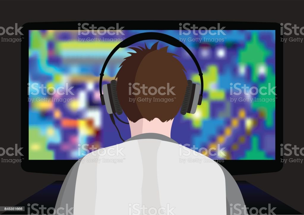 Playing young computer game vector art illustration