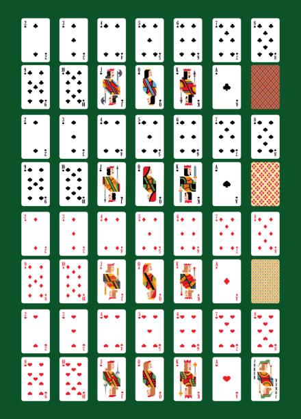 spielen-karte vektor spielkarten für poker im casino abbildung satz von spielern spielen spiel zeichen könig, dame und bube auf hintergrund isoliert - holzdeck stock-grafiken, -clipart, -cartoons und -symbole