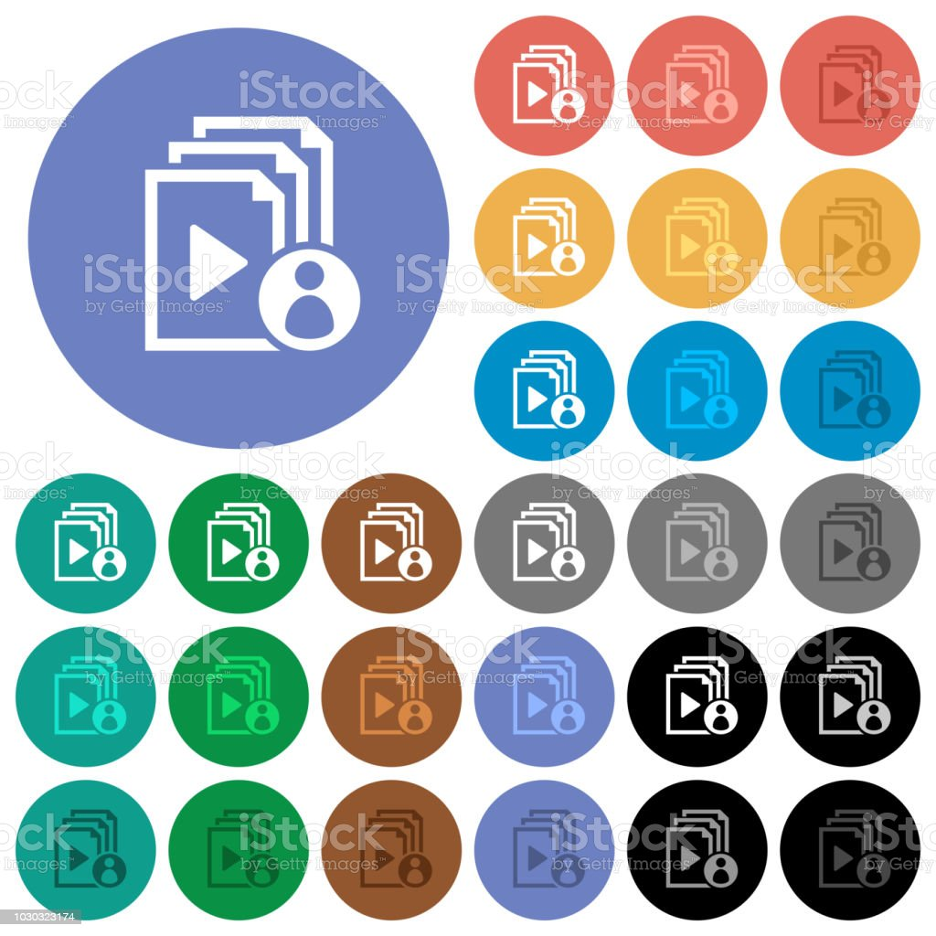 Playlist author round flat multi colored icons vector art illustration