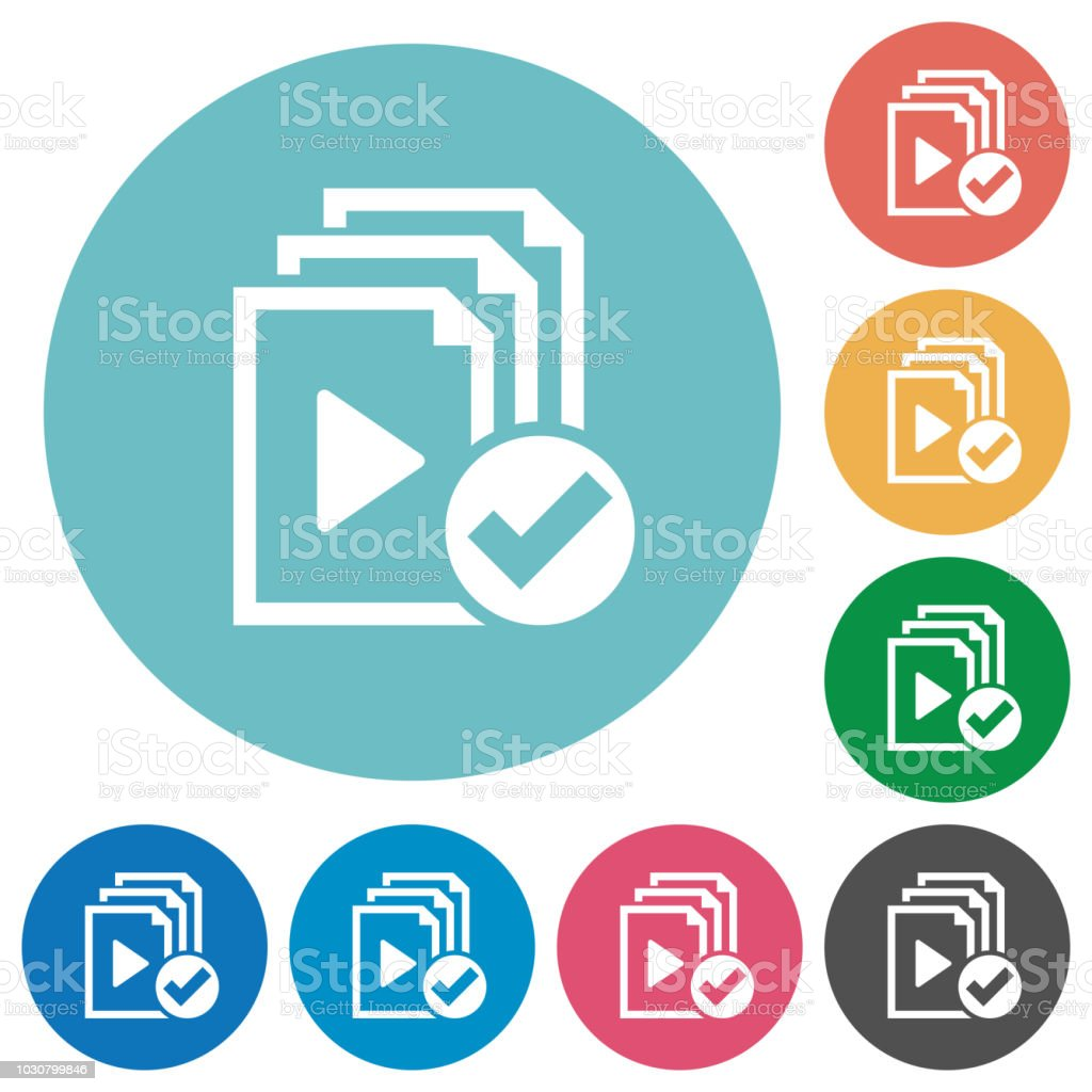 Playlist done flat round icons vector art illustration
