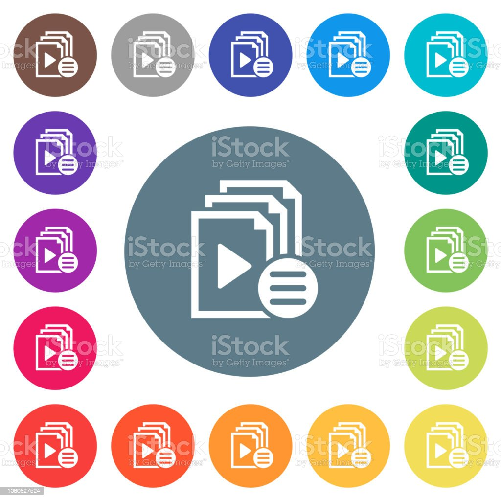 Playlist options flat white icons on round color backgrounds vector art illustration