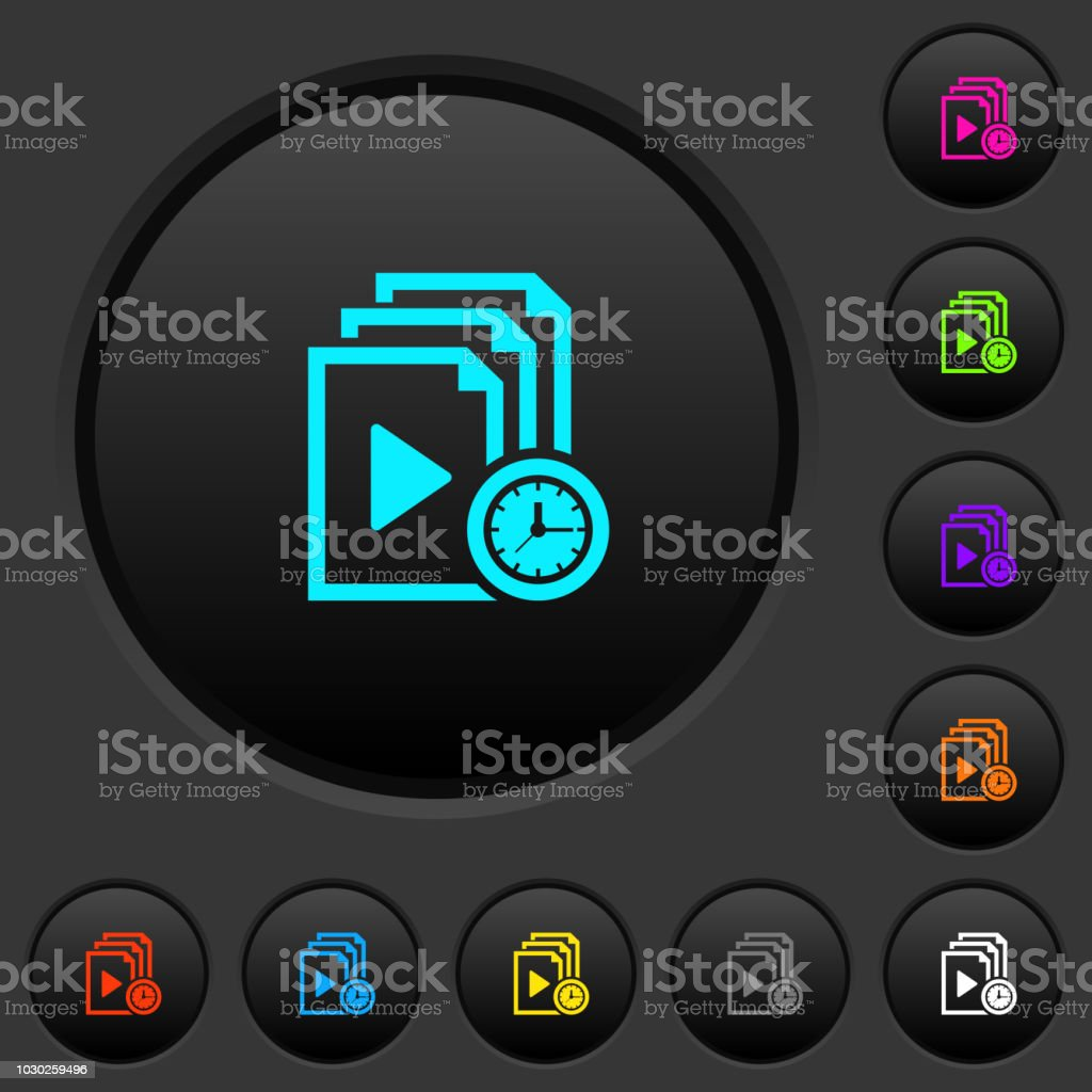 Playlist playing time dark push buttons with color icons vector art illustration
