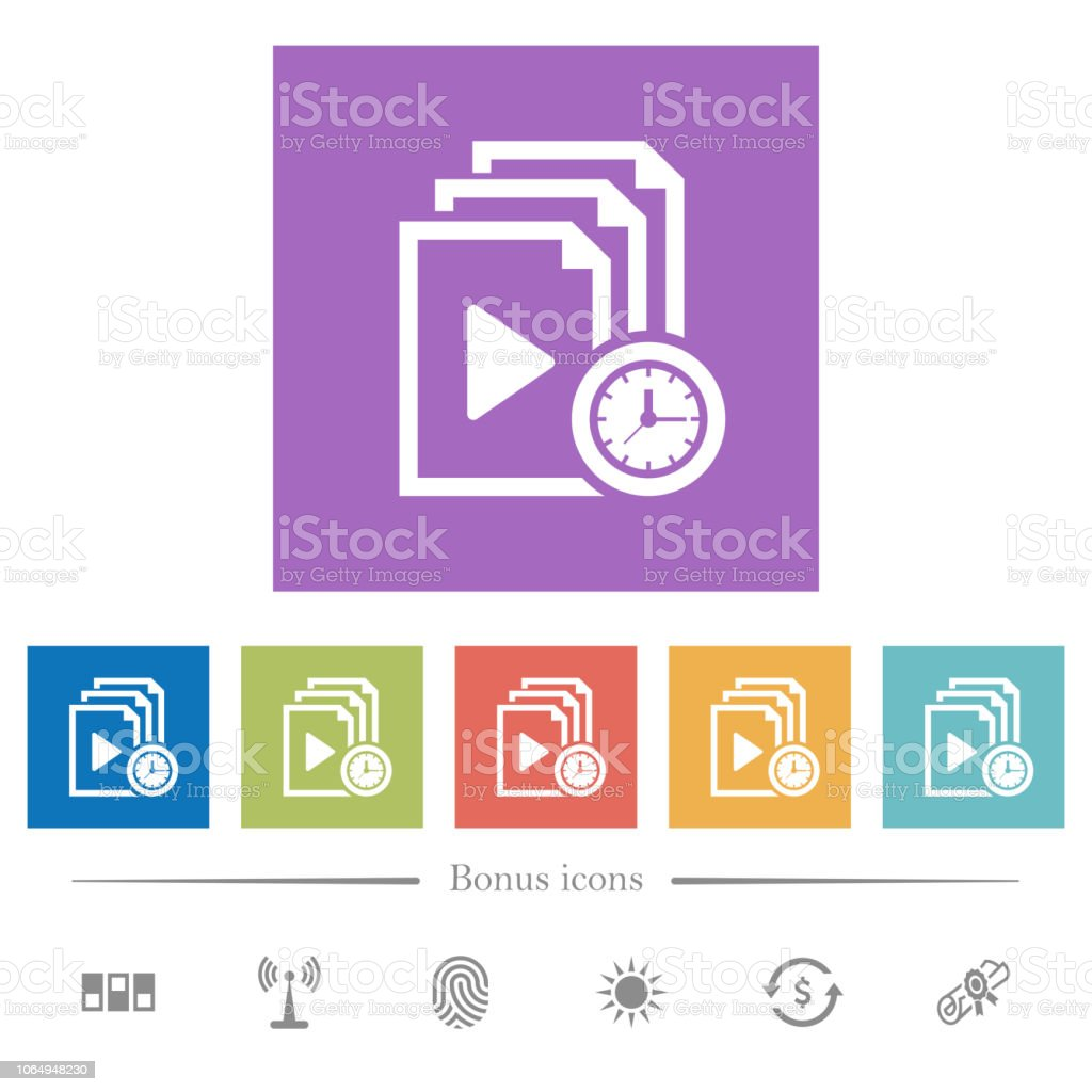 Playlist playing time flat white icons in square backgrounds vector art illustration