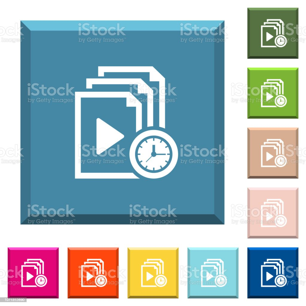 Playlist playing time white icons on edged square buttons vector art illustration