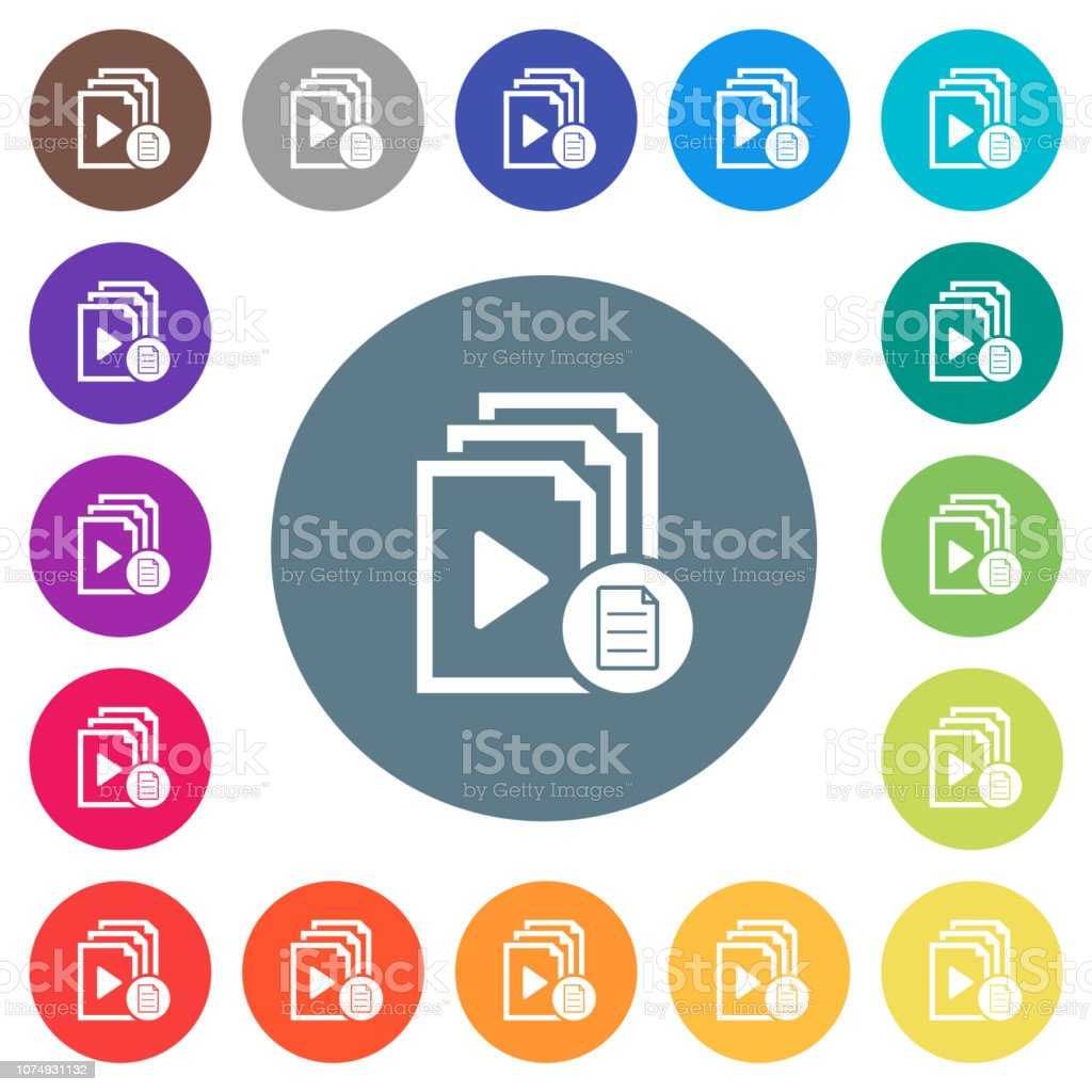 Playlist properties flat white icons on round color backgrounds vector art illustration