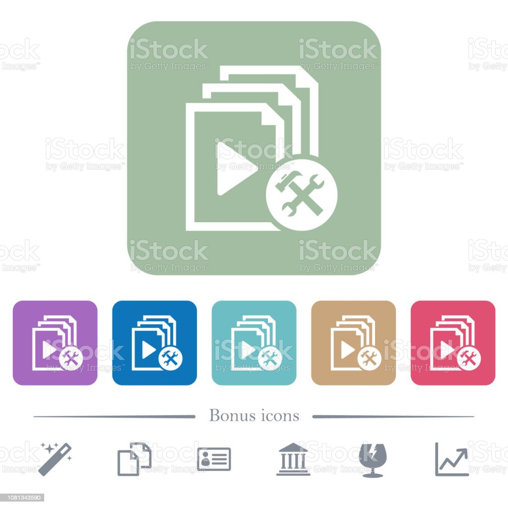 Playlist tools flat icons on color rounded square backgrounds vector art illustration