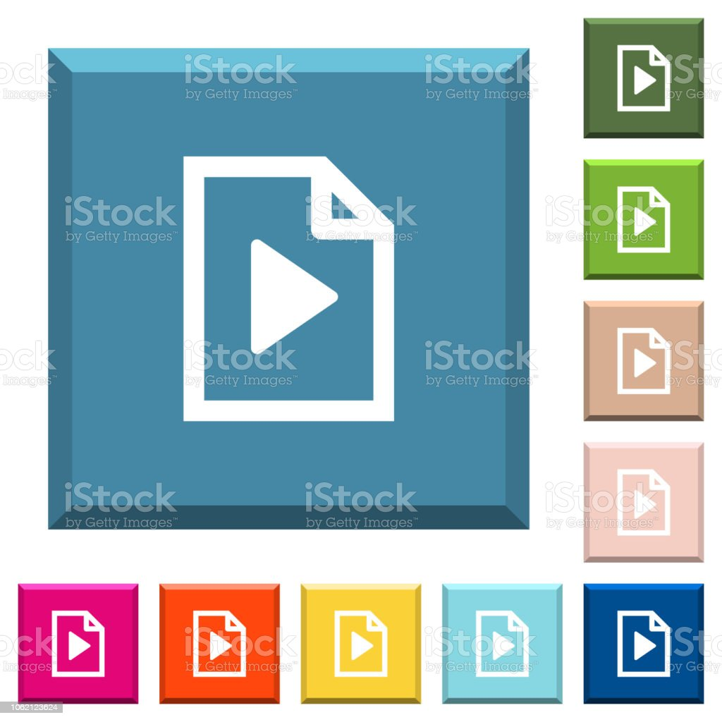 Playlist white icons on edged square buttons vector art illustration