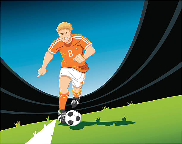 """Playmaker Soccer Player Orange """"Hand-drawn vector illustration of a running soccer player, who is preparing the next move. The illustration is on separate layers, so you also can use the soccer player on your own background. The colors in the .eps-file are ready for print (CMYK). Included files: EPS (v8) and Hi-Res JPG."""" running stock illustrations"""