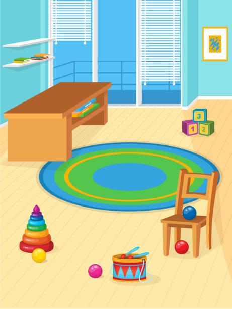 ilustrações, clipart, desenhos animados e ícones de sala de jogos cheia de brinquedos. - salas de aula