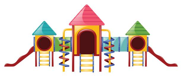 playstation with slides and tunnels - monkey bars stock illustrations, clip art, cartoons, & icons