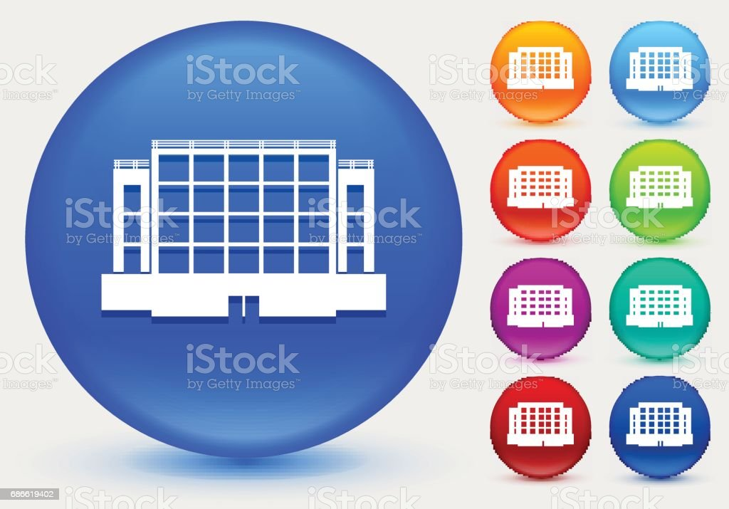 Plaza Building Icon on Shiny Color Circle Buttons royalty-free plaza building icon on shiny color circle buttons stock vector art & more images of architecture