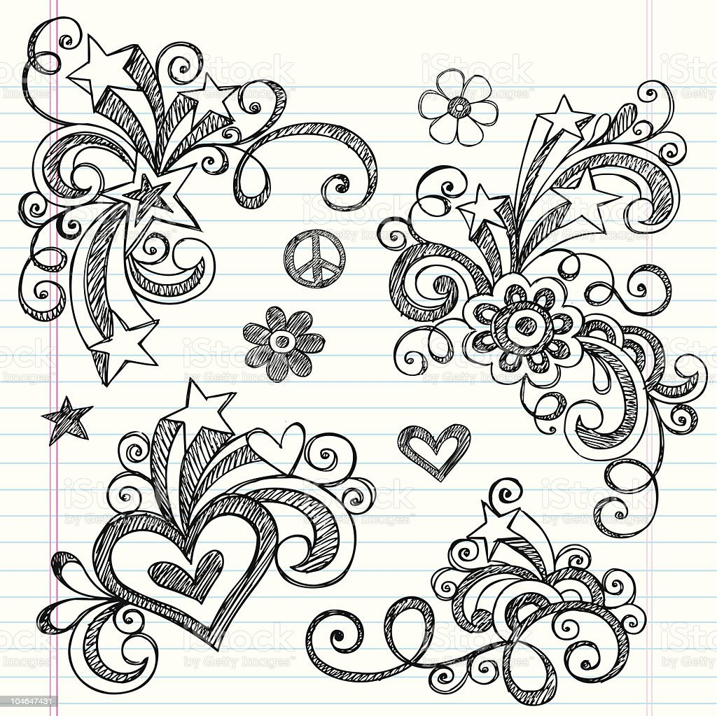 Pleasant doodled images on a sheet of notebook paper vector art illustration