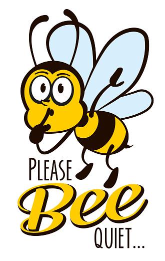 Please Bee Quiet Poster Cartoon