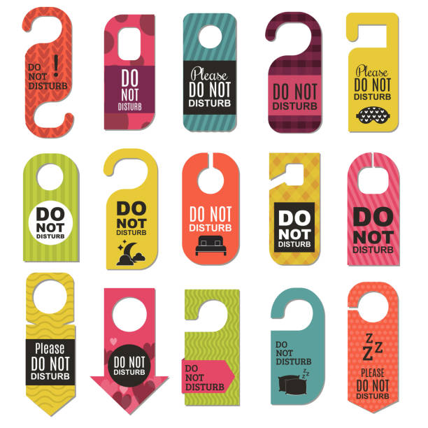 Please do not disturb hotel design Please do not disturb hotel design. Motel service room privacy concept. Vector card hang message vacation hanger. Door quiet busy instructions graphic. inconvenience stock illustrations