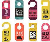 Please do not disturb hotel door quiet motel service room privacy concept vector card hang message