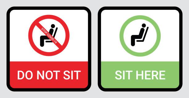 bildbanksillustrationer, clip art samt tecknat material och ikoner med sitt inte och sitt här tecken för att förhindra coronavirus eller covid-19 pandemi. håll avstånd 6 fot eller 2 meter fysiskt avståndstagande för stol, säte, buss, tunnelbana, järnväg, spårvagn, tåg, matsal koncept - sittplats