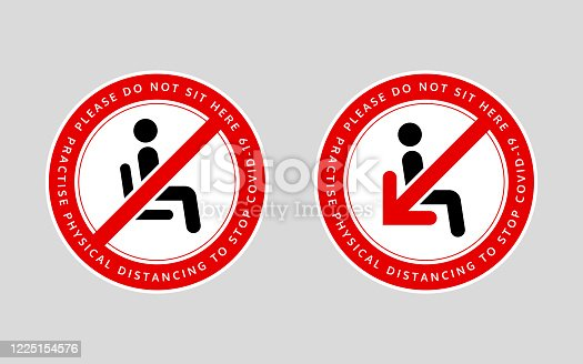 Chair or seat sticker. Social distancing policy awareness message. Vector design.