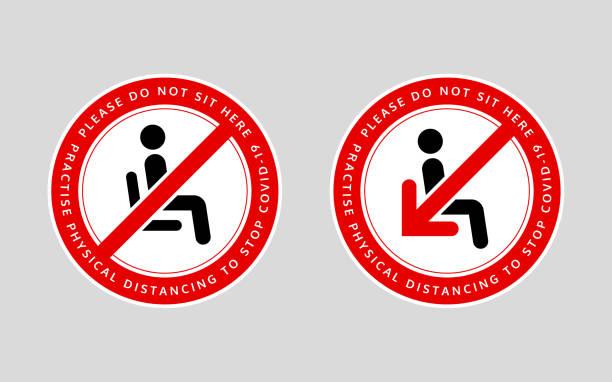 bitte sitzen sie nicht hier. üben sie körperliche distancing, um covid-19 zu stoppen. eine sensibilisierungsbotschaft zur förderung der sozialen entsagung in den sitzbereichen. - fahrzeugsitz stock-grafiken, -clipart, -cartoons und -symbole