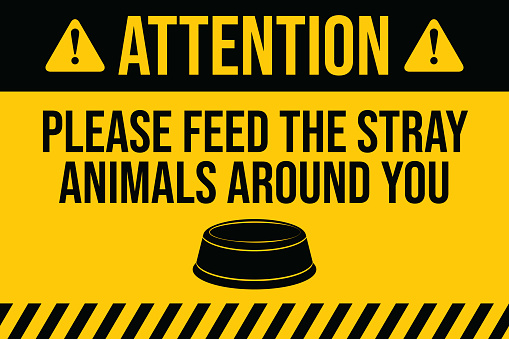 Please feed the stray animals. COVID-19 outbreak influenza as dangerous flu strain cases as a pandemic concept banner flat style illustration stock illustration