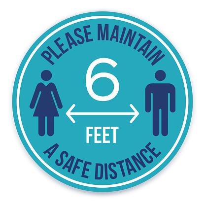 Please Maintain a Safe Distance Social Distancing Message