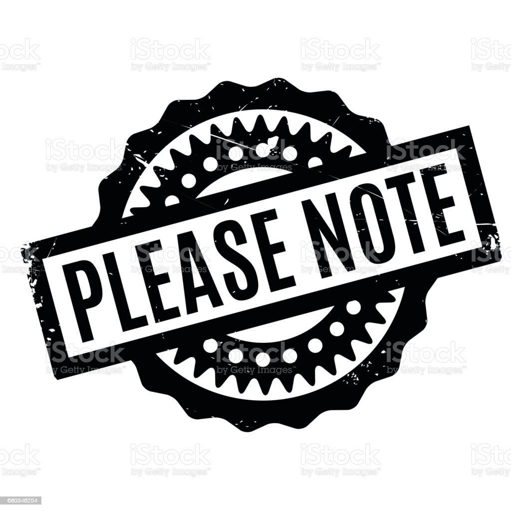 Please Note rubber stamp vector art illustration
