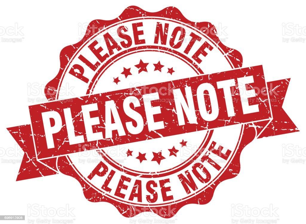 please note stamp. sign. seal vector art illustration