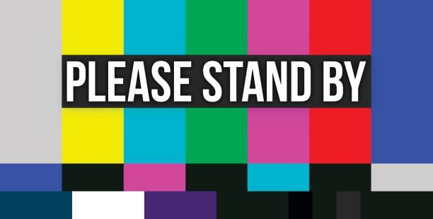 please stand by color error screen - телевизионная индустрия stock illustrations