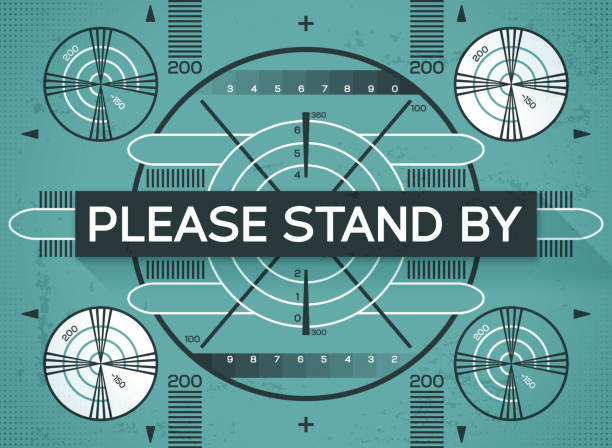 Please Stand By Test Screen Technical difficulties please stand by screen. projection screen stock illustrations