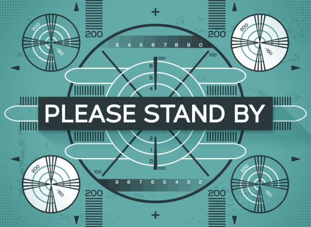 illustrazioni stock, clip art, cartoni animati e icone di tendenza di please stand by test screen - incertezza