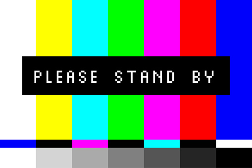 Please Stand By - TV Screen Test. Television Test Pattern Stripes. Retro Style Screensaver. Vector Illustration