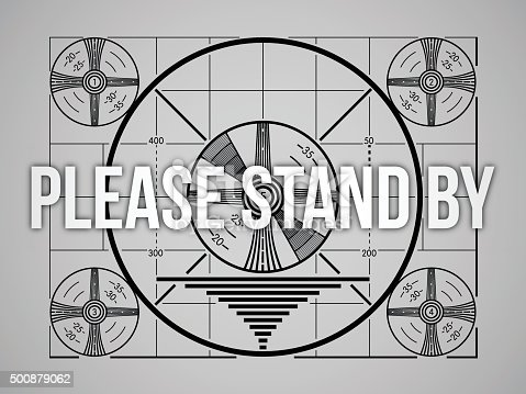 Please stand by technical difficulties television test screen. EPS 10 file. Transparency effects used on highlight elements.