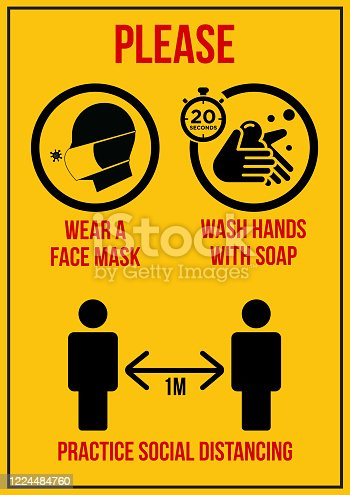 Please wear a face mask,wash hands, social distancing sign board for display on a entrance, in vector format