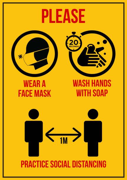 bitte tragen sie eine gesichtsmaske, waschen hände, soziale entsung zeichentafel - flat icons stock-grafiken, -clipart, -cartoons und -symbole