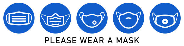 Please wear a face mouth nose mask sign - simple white virus respirator drawing in blue circle. Can be used during coronavirus covid-19 outbreak prevention vector art illustration
