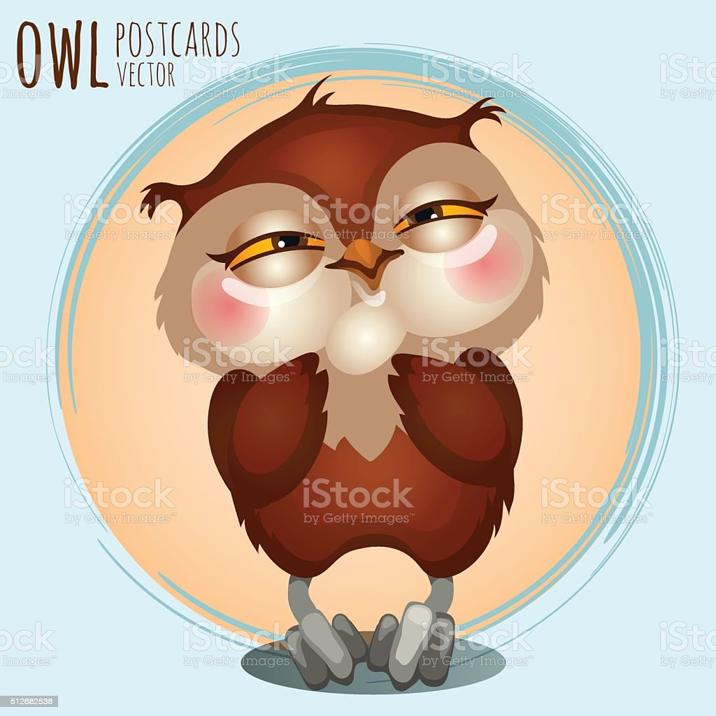 Pleased brown owl, cartoon series vector art illustration