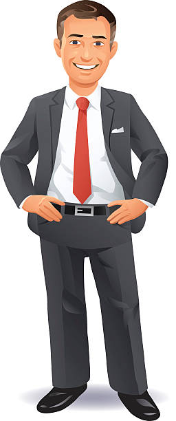 Pleased Businessman A smiling businessman with hands on hips, isolated on white. EPS 8, fully editable, grouped and labeled in layers. suit stock illustrations
