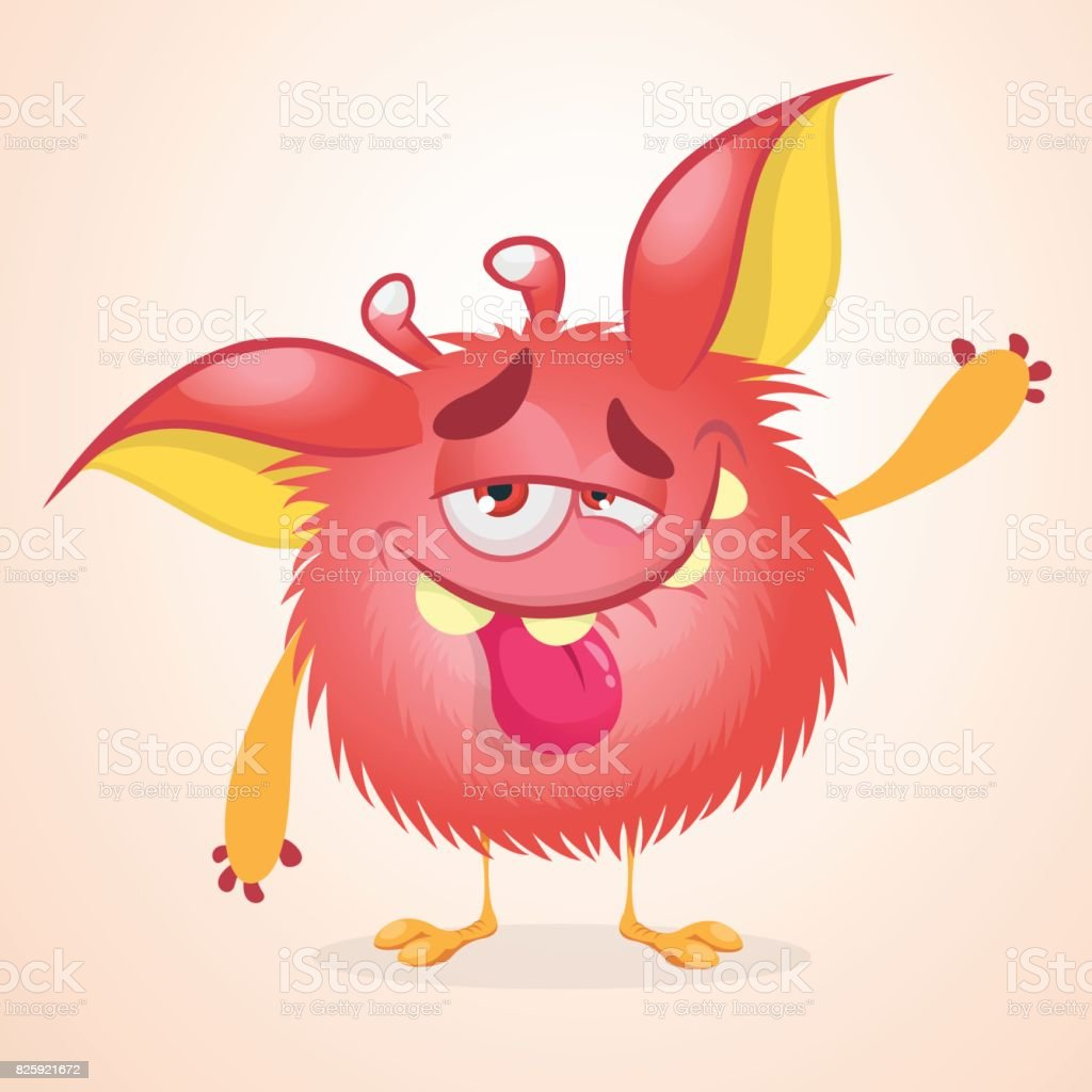 Pleased Funny Monster Cartoon Vector Illustration Of ...
