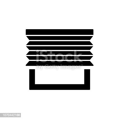 Pleated blinds. Vector illustration. Flat icon of shades. Window decoration. Isolated object on white background