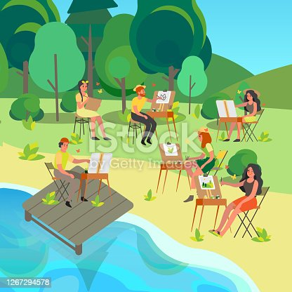 istock Plein air concept. People painting outdoors. Young artist 1267294578