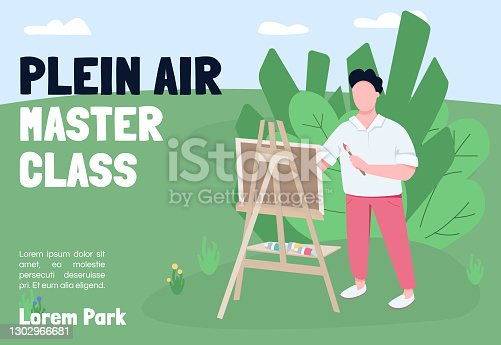 istock Plein air master class banner flat vector template. Brochure, poster concept design with cartoon characters. Arts studio outdoor lesson horizontal flyer, drawing paintings leaflet with place for text 1302966681