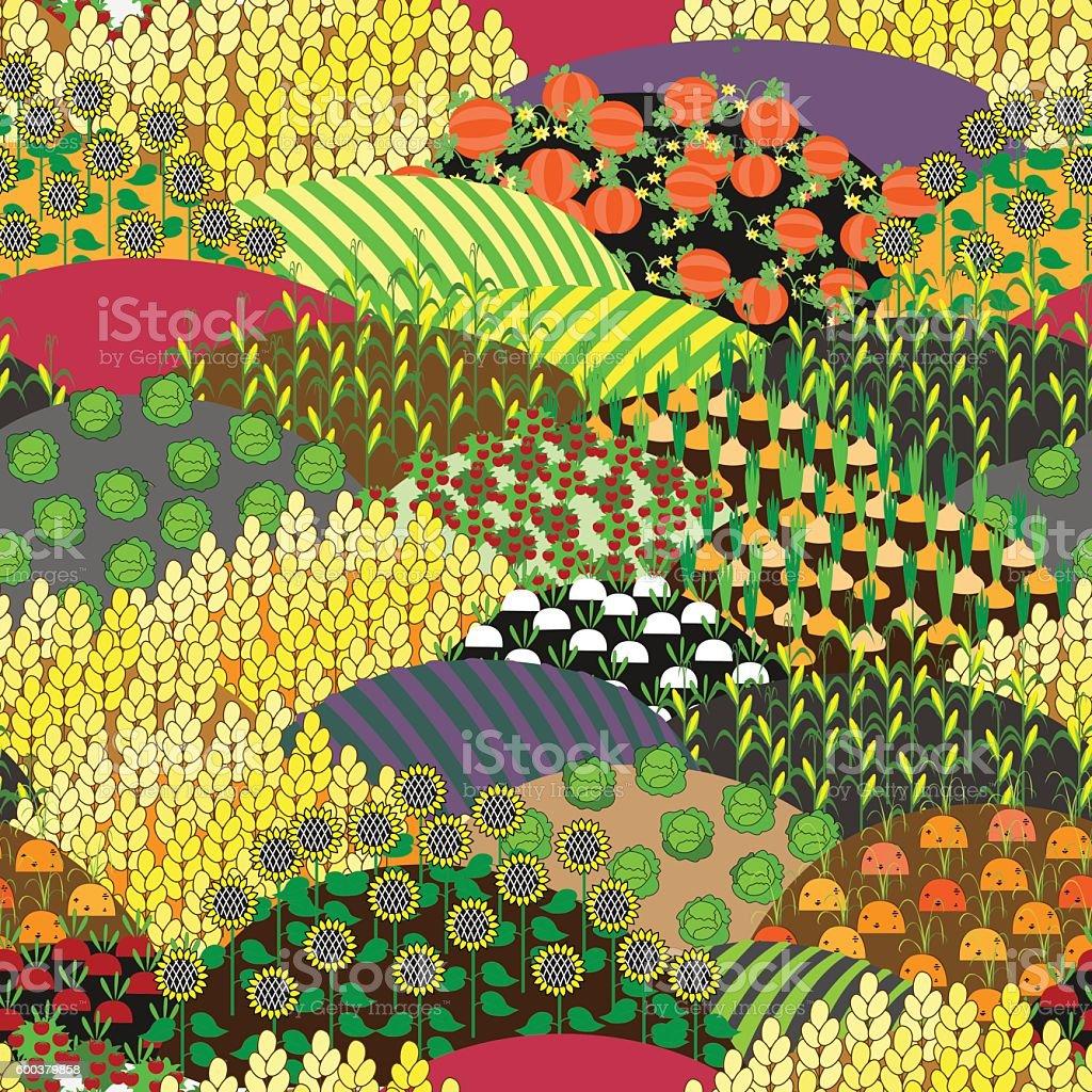 Plenteous Fields Seamless Pattern. Harvest background. vector art illustration