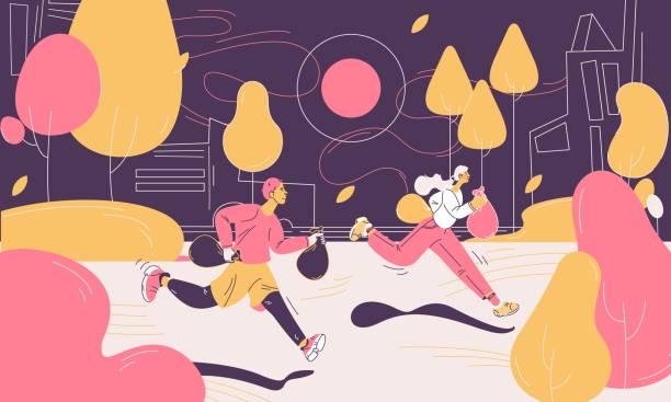 plogging konzept-szene mit zwei personen joggen mit müll. umriss outdoor-park in gelb und rosa - altglas stock-grafiken, -clipart, -cartoons und -symbole
