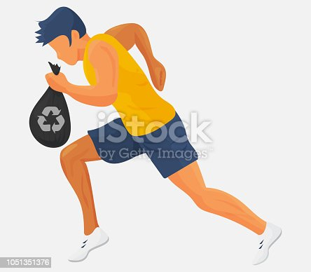 istock Plogging vector illustration: running athlete with a bag or garbage or trash. Runner with a garbage bag plogging or cleanning waste isolated. 1051351376