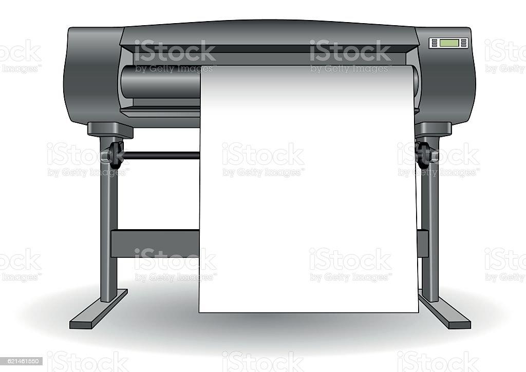 Plotter inkjet printer ploter vector art illustration