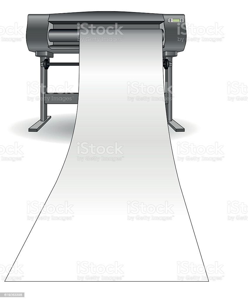 Plotter inkjet printer vertical vector art illustration