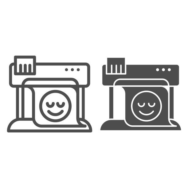 stockillustraties, clipart, cartoons en iconen met plotter lijn en glyph-pictogram. groot formaat printer vector illustratie geïsoleerd op wit. print machine overzichts stijl ontwerp, ontworpen voor web en app. eps 10. - breed