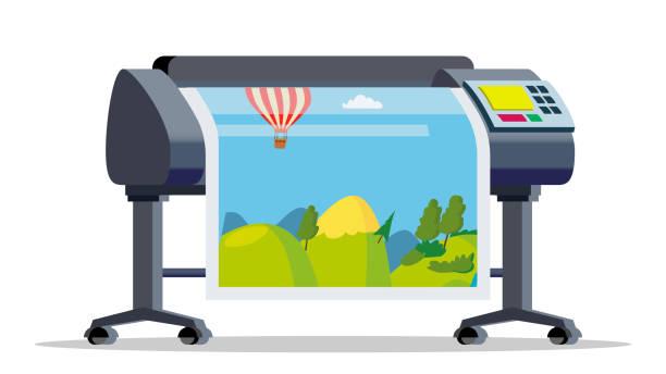 stockillustraties, clipart, cartoons en iconen met plotter, printer vector. groot formaat multifunctionele printer. polygrafie, printshop service. geïsoleerd plat cartoon afbeelding - breed