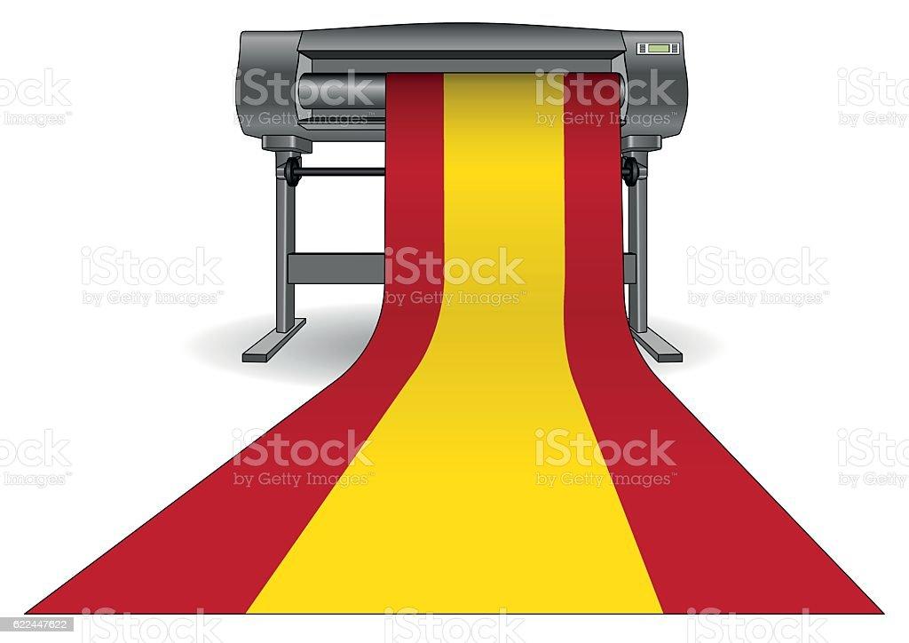 plotter printing large spain flag vector art illustration