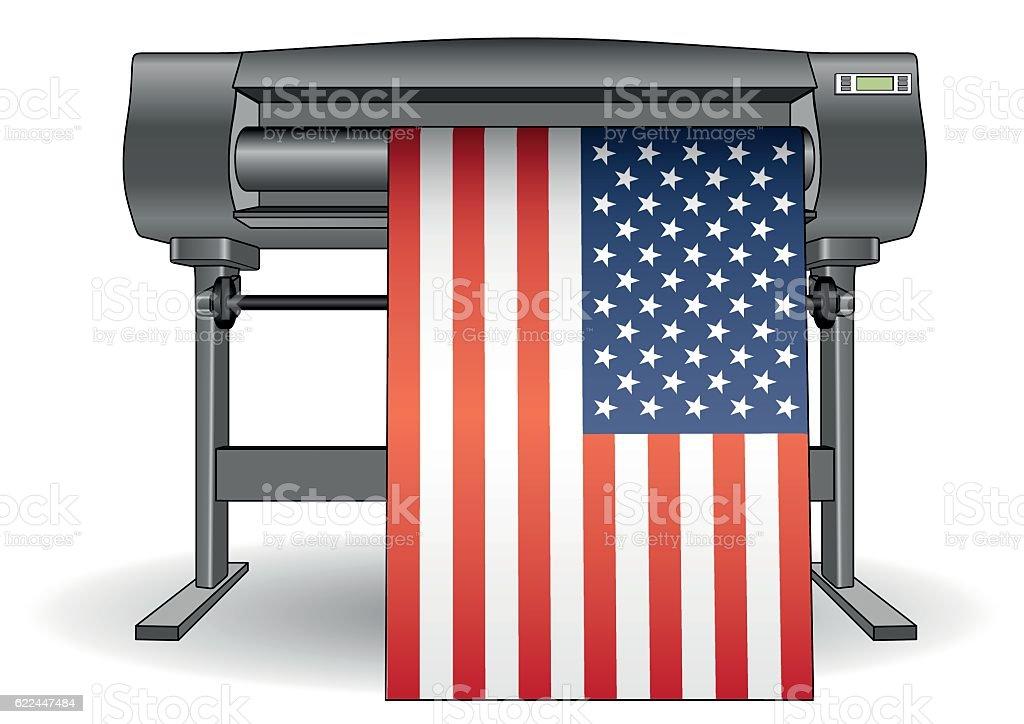 Plotter printing USA flag vector art illustration